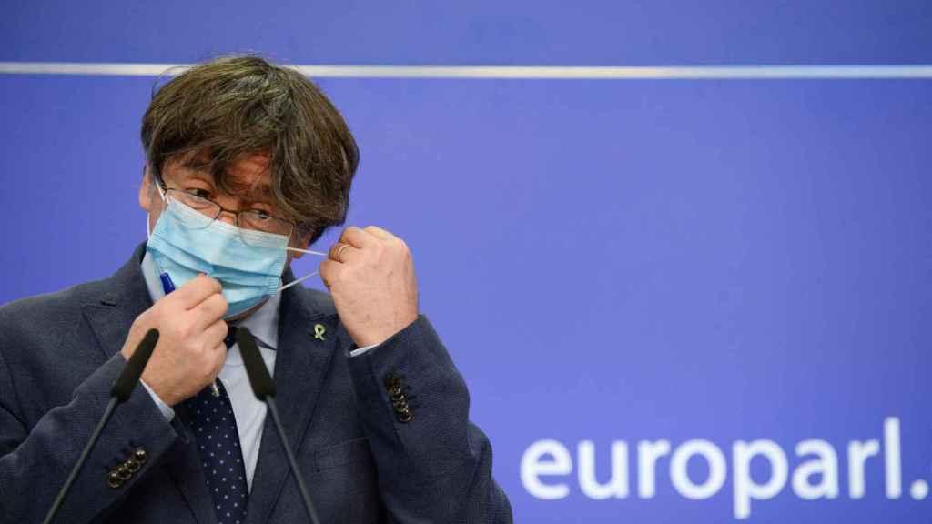 Carles Puigdemont, durante la rueda de prensa que ha dado este miércoles en la Eurocámara