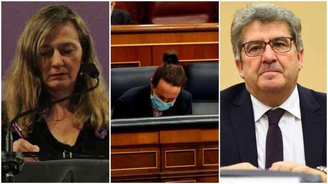 Victoria Rosell, Pablo Iglesias y José Ricardo de Prada.