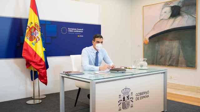 El presidente del Gobierno, Pedro Sánchez, durante la última videocumbre del 21 de enero