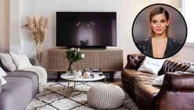 Laura Escanes y el salón de su casa en Madrid, en un fotomontaje de JALEOS.