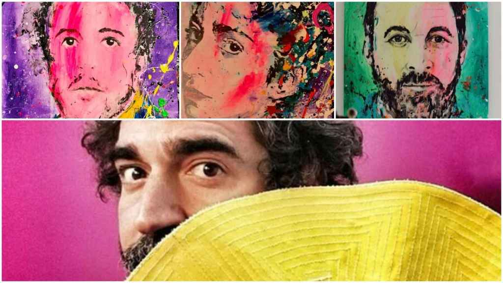 El artista David Partida con tres de sus obras: Álex Lequio, Alba Flores y Santiago Abascal.