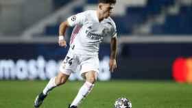 Hugo Duro en su debut en Champions con el Real Madrid frente al Atalanta