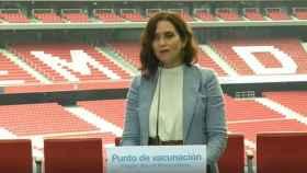 La presidenta de la Comunidad de Madrid, Isabel Díaz Ayuso, este jueves en el Wanda Metropolitano.