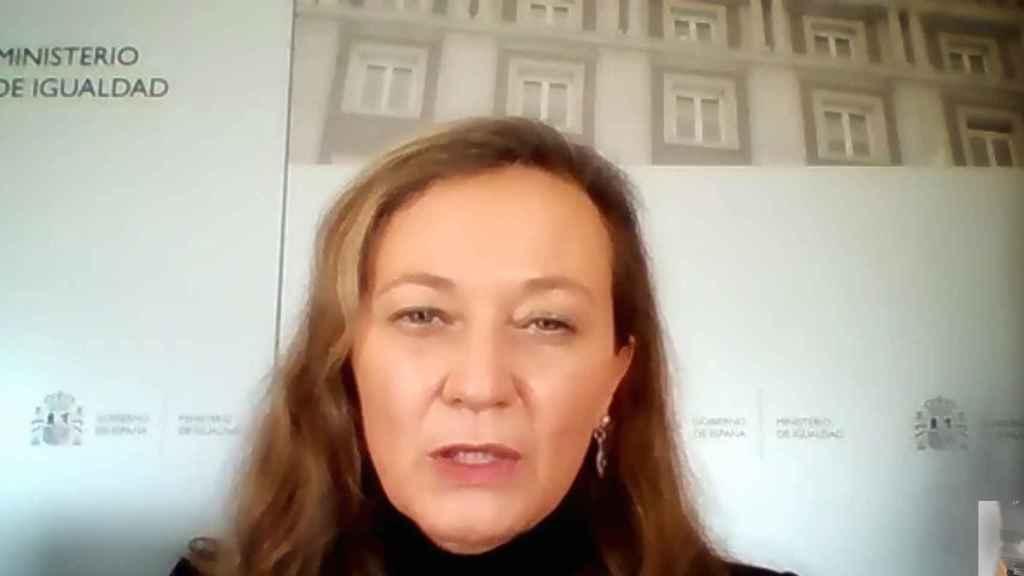 Victoria Rosell, delegada del Gobierno contra la Violencia de Género, en un encuentro virtual con la prensa.