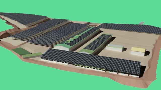 Figuración de los paneles solares sobre los cultivos. EE
