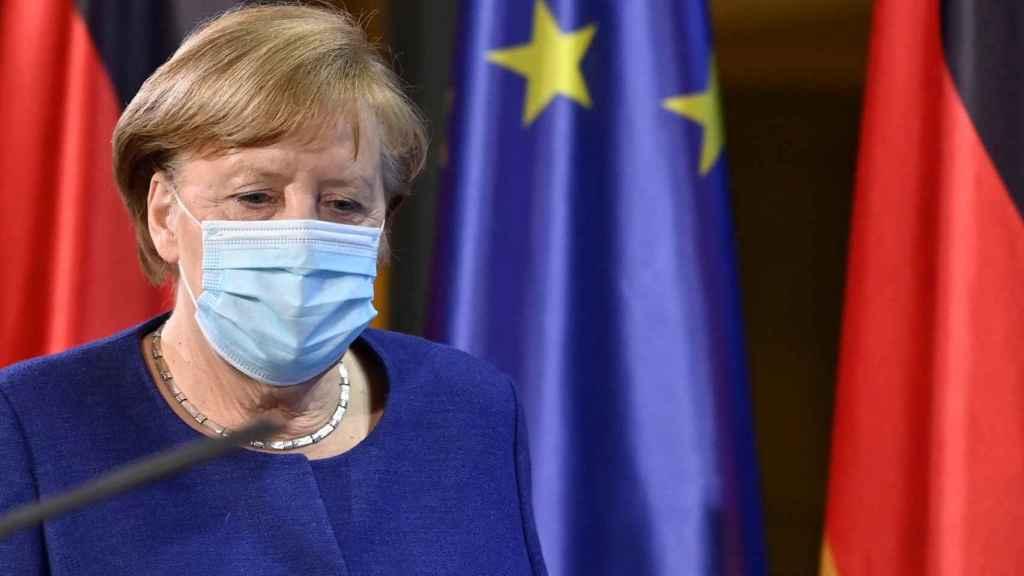 La canciller Angela Merkel, durante la rueda de prensa de este jueves