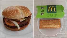 A la izquierda, la hamburguesa Grand McExtreme Double 1955 y, a la derecha, el Apple Pie, los dos 'nuevos' productos de la hamburguesería.