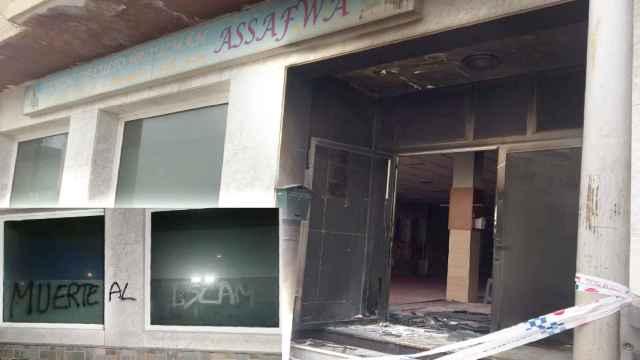 Estado en el que quedó la fachada de la mezquita de San Javier tras sufrir una pintada y ser quemada.