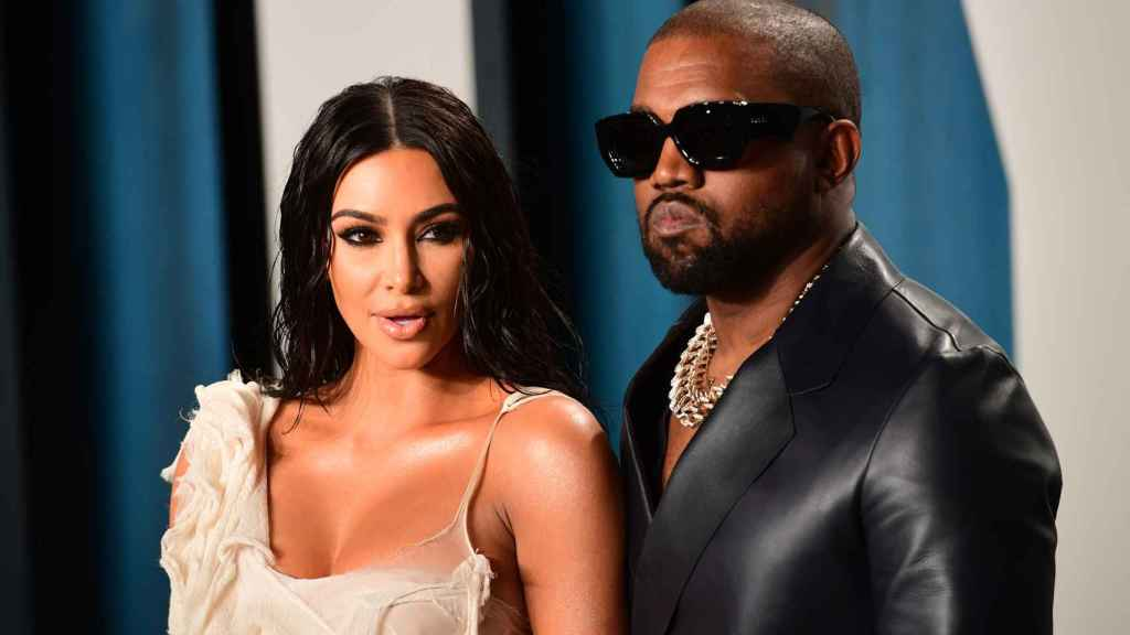 Kanye West and Kim Kardashian in a February 2020 image.