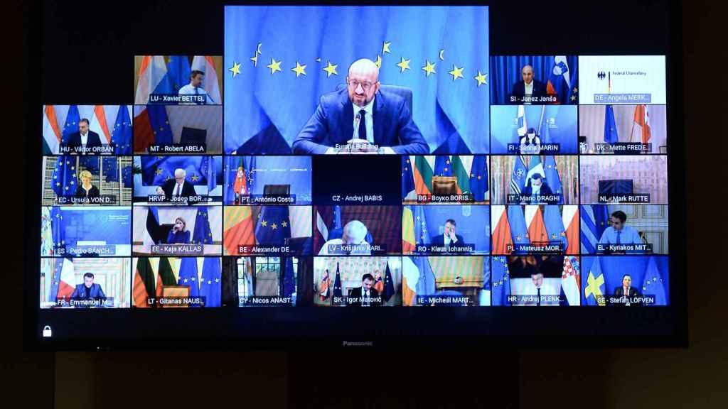 Imagen de la videocumbre de líderes europeos celebrada este viernes y consagrada a seguridad y defensa