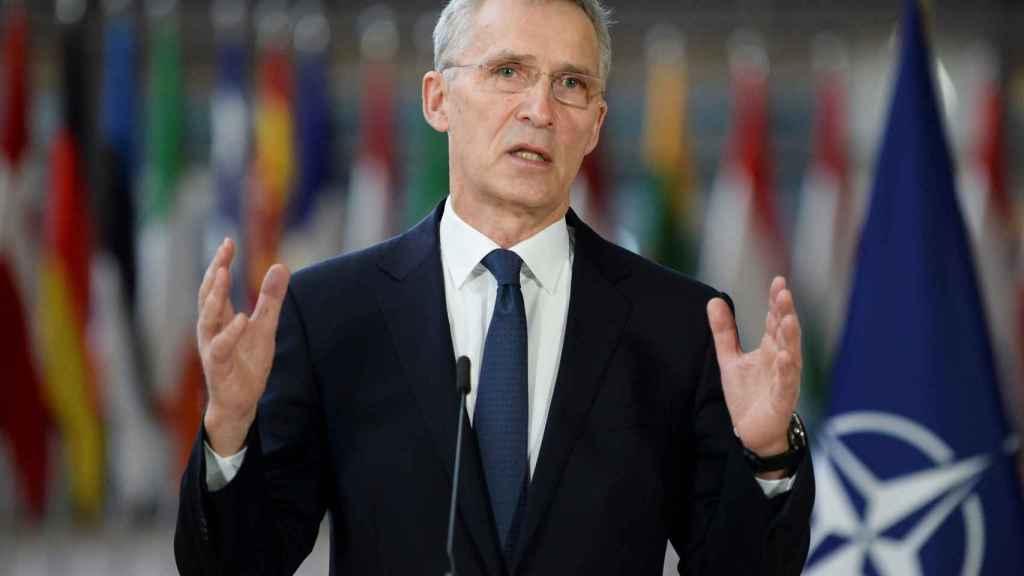 El secretario general de la OTAN, Jens Stoltenberg, durante la videocumbre de este viernes