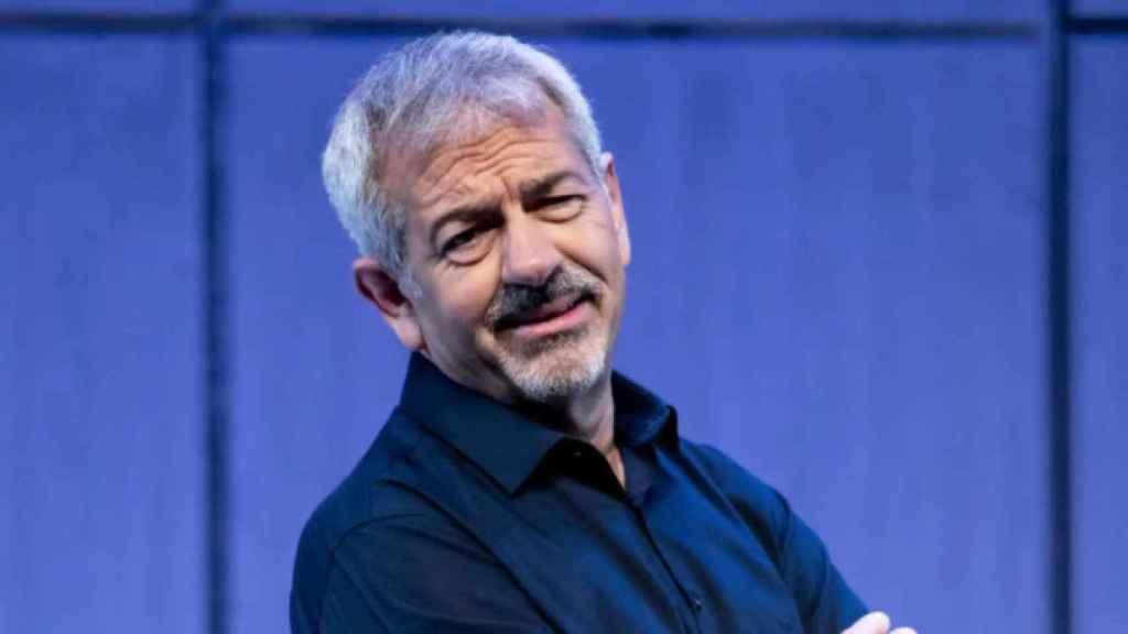 Carlos Sobera en la presentación de su obra de teatro 'Asesinos todos'.