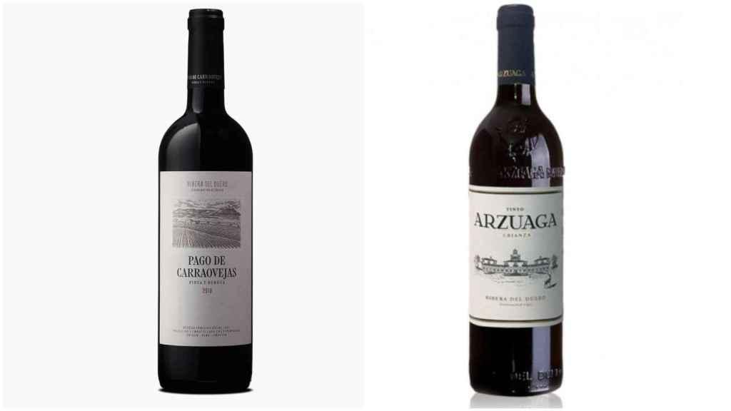 A la izquierda, el Pago de Carrovejas y, a la derecha, el Arzuaga, dos vinos que le gustan a Carlos Sobera.