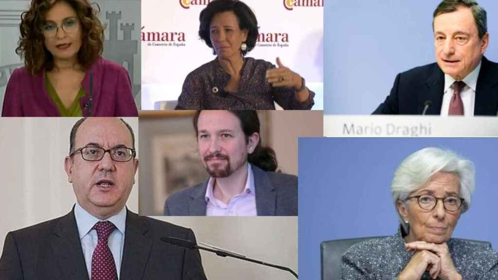 María Jesús Montero, Ana Botín, Mario Draghi, José María Roldán, Pablo Iglesias y Christine Lagarde.
