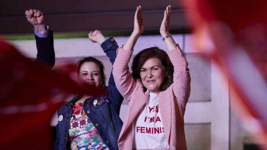Carmen Calvo, en la sede de su partido en Madrid, tras conocer los datos de las elecciones generales de 2019.