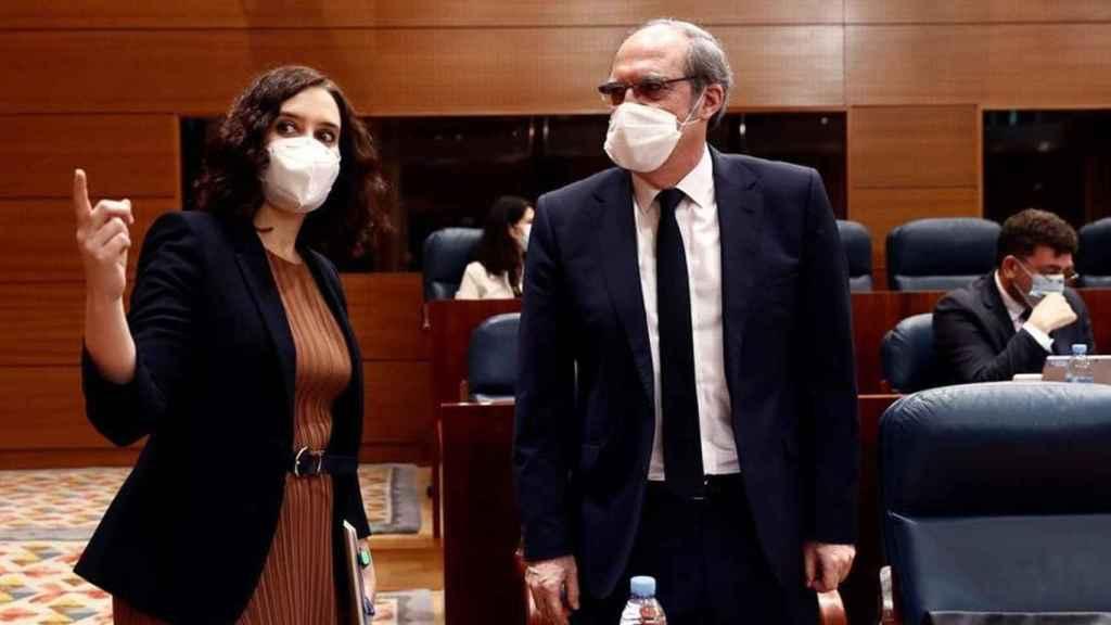 Ayuso y Gabilondo, en una imagen reciente en la Asamblea de Madrid.