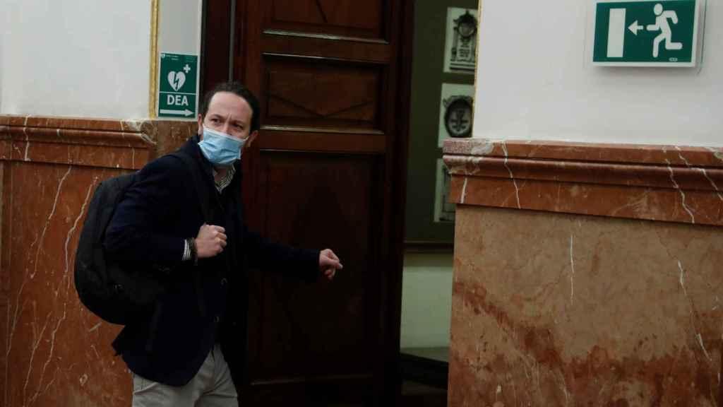 Pablo Iglesias, entrando al hemiciclo del Congreso de los Diputados.
