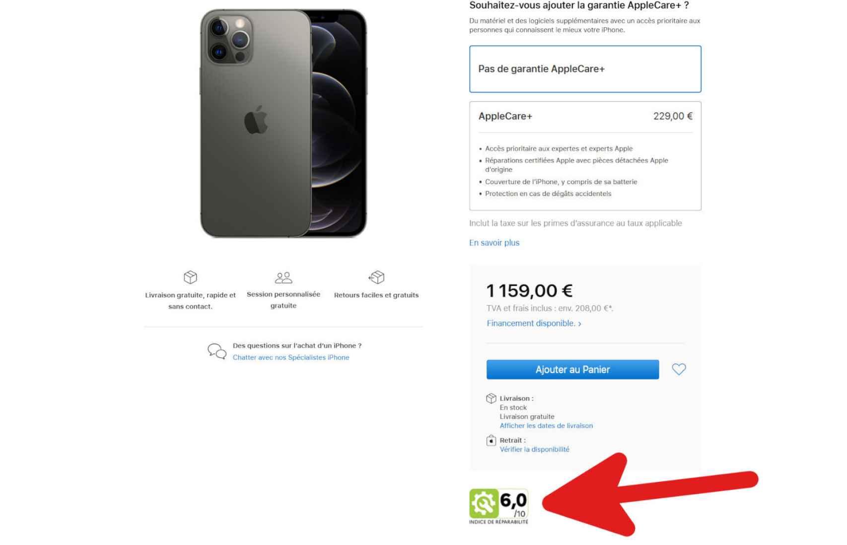 Apple muestra el índice de reparabilidad en su página