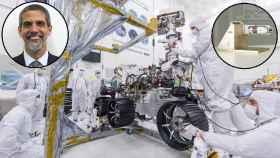 Miguel Ángel Carrera, el rover Perseverance y el brazo robótico de AVS