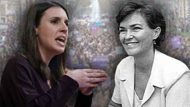 La ministra de Igualdad, Irene Montero, en una fotomontaje junto a la vicepresidenta primera, Carmen Calvo.