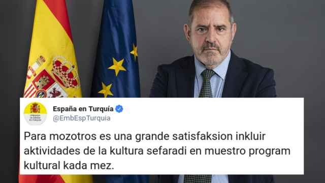 El embajador de España en Turquía, Javier Hergueta Garnica, y uno de los tuits.