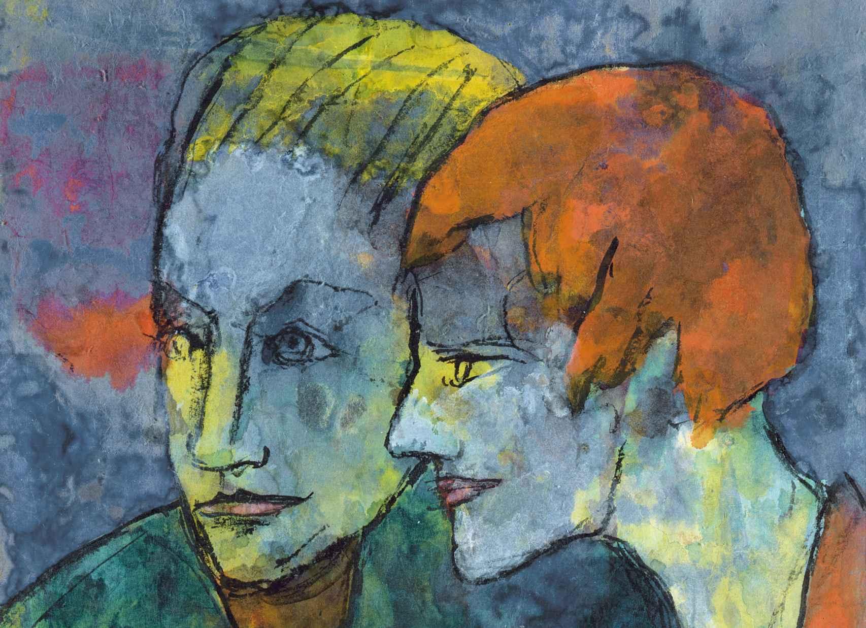 Detalle de 'La joven pareja', de Emil Nolde.