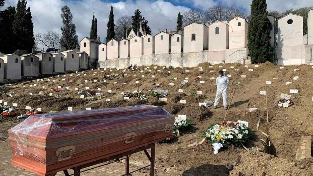 Vista de una sección del cementerio lisboeta de Alto de São João,  donde el 95% de los enterrados son víctimas de Covid-19.