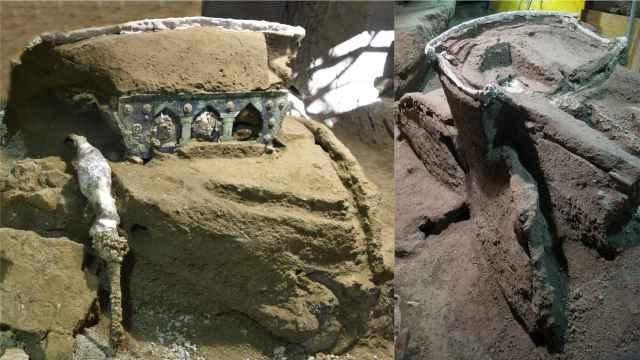 El excepcional carro hallado en Pompeya.