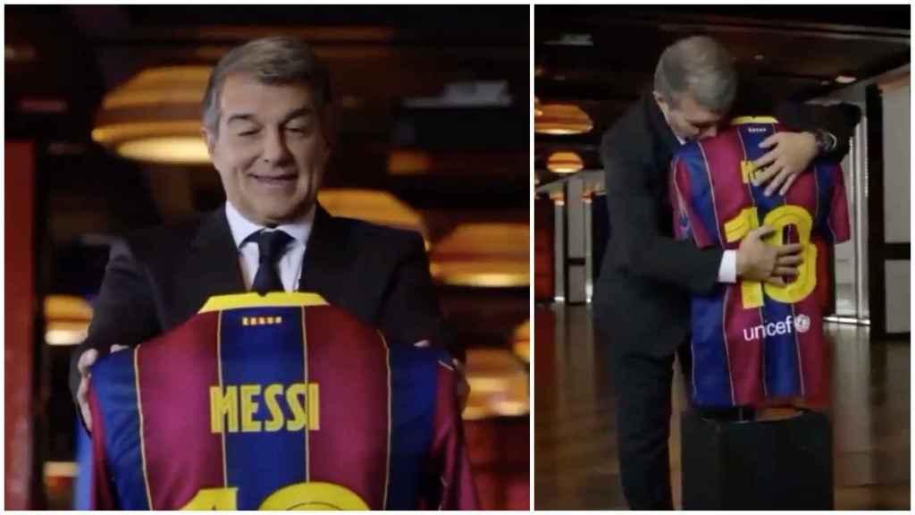 Laporta con un maniquí de Leo Messi