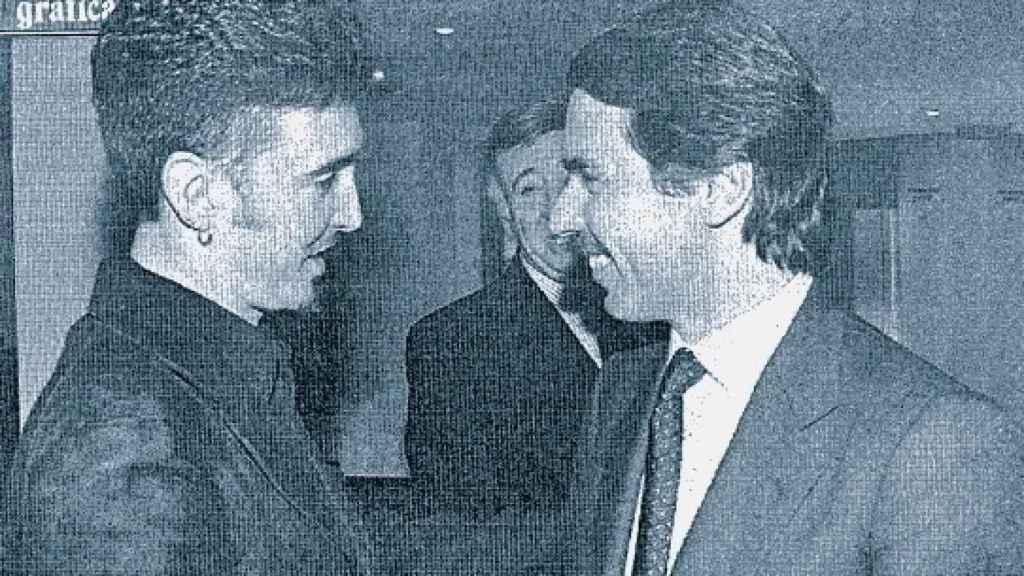 Aznar y Ramoncín, tras una reunión poco antes de las elecciones de 1996.