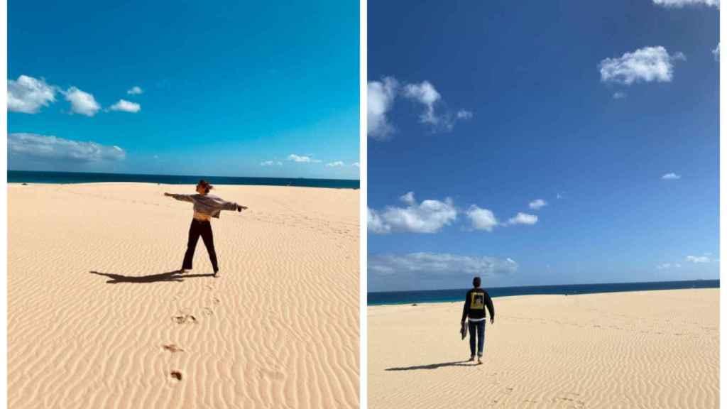 Nuria Roca y Juan del Val disfrutando de sus ratos libres en Fuerteventura.