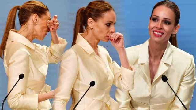 Eva González, muy emocionada en la ceremonia de entrega de las Medallas de Andalucía.