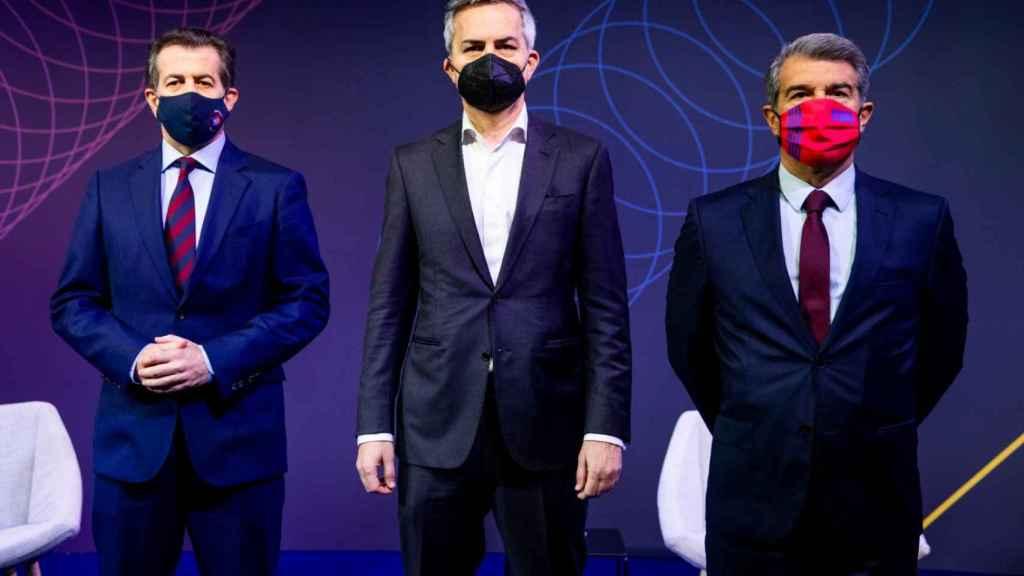 Toni Freixa, Víctor Font y Joan Laporta, en un debate
