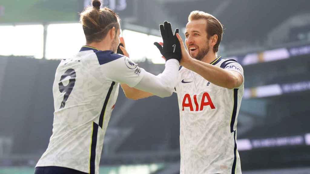 Gareth Bale y Harry Kane celebran un gol del Tottenham