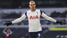 Gareth Bale celebra un gol con el Tottenham en la temporada 2020/2021