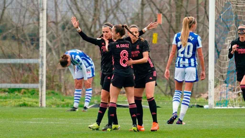 Marta Cardona celebra su gol frente a la Real Sociedad. Foto: Twitter (@realmadridfem)
