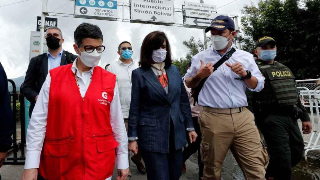 La ministra de Asuntos Exteriores de España, Arancha González Laya, en su visita a Colombia.