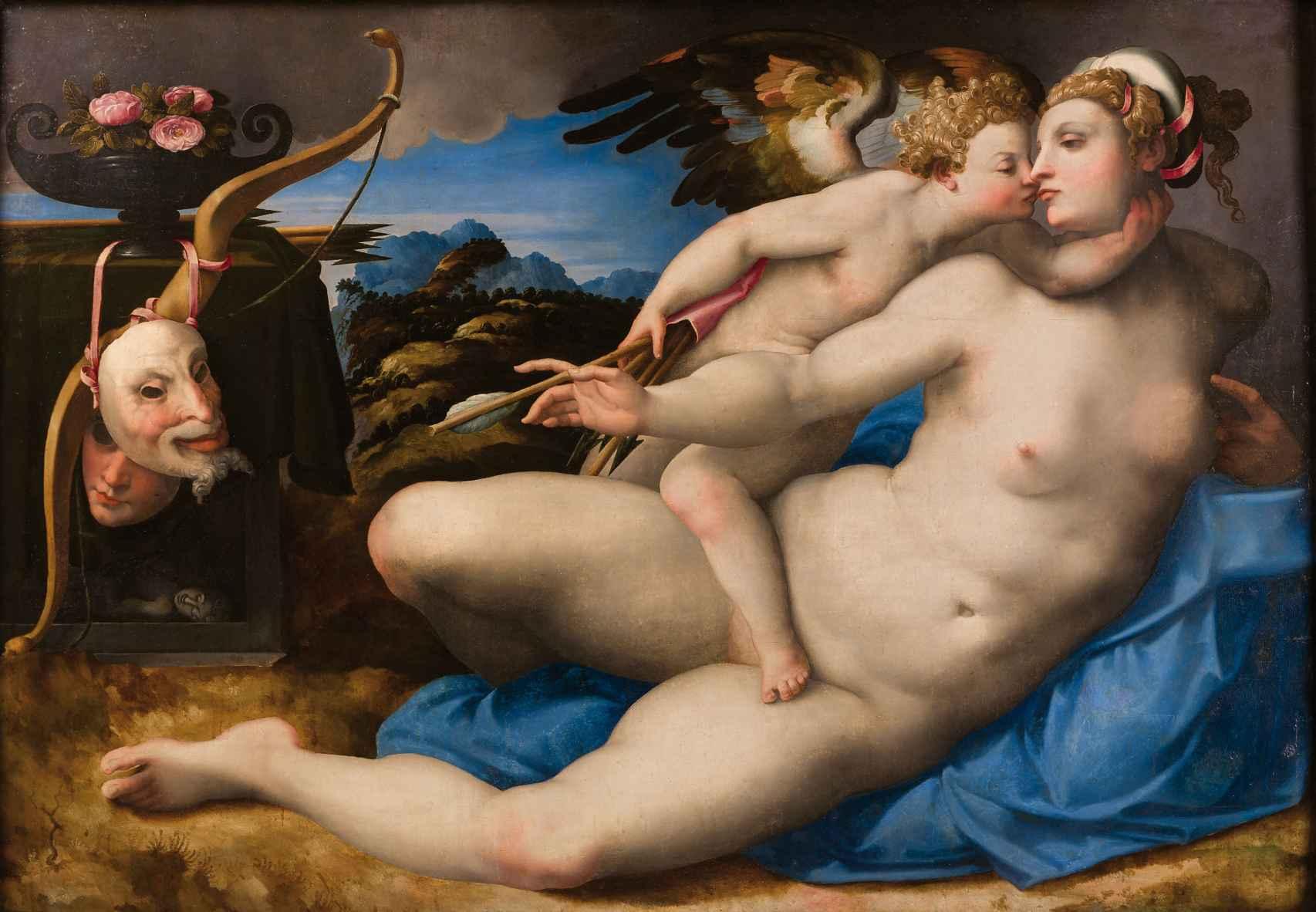 'Venus besada por Cupido', de Hendrik van der Broeck, según Miguel Ángel.