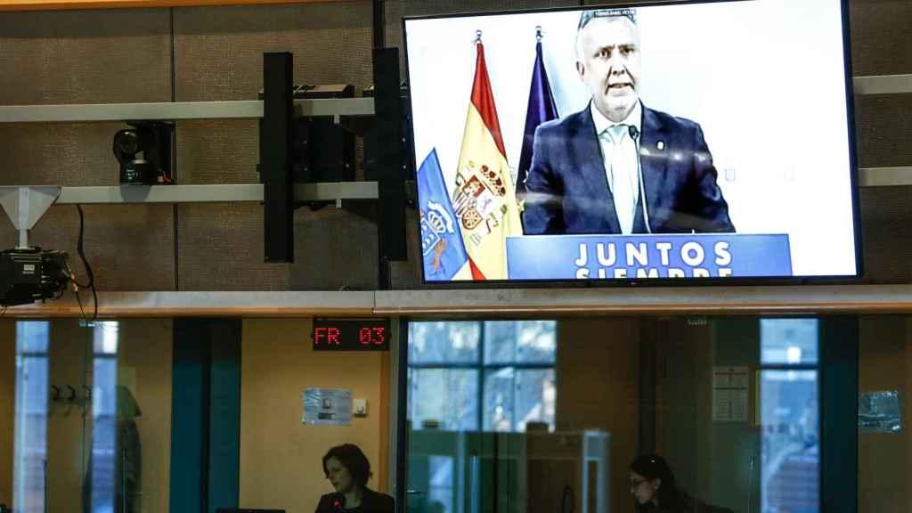 El presidente de Canarias, Ángel Víctor Torres, durante su comparecencia virtual este lunes en la Eurocámara