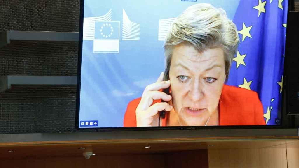 La comisaria de Interior, Ilva Johansson, durante su comparecencia virtual este lunes en la Eurocámara