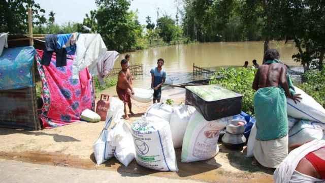 Inundación en una aldea de la India.