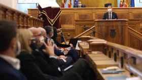 El presidente regional, Emiliano García-Page, durante una intervención en las Cortes de Castilla-La Mancha