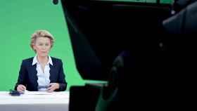 La presidenta de la Comisión, Ursula von der Leyen, durante la videocumbre de este lunes