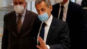 Nicolas Sarkozy a su llegada a los juzgados de París donde ha sido condenado a tres años de cárcel.