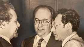De izquierda a derecha, los ministros Ahmed Zaki Yamani, de Arabia Saudita; Humberto Calderon Berti, de Venezuela; y Belkacem Nabi, de Argelia (Londres, 1983).