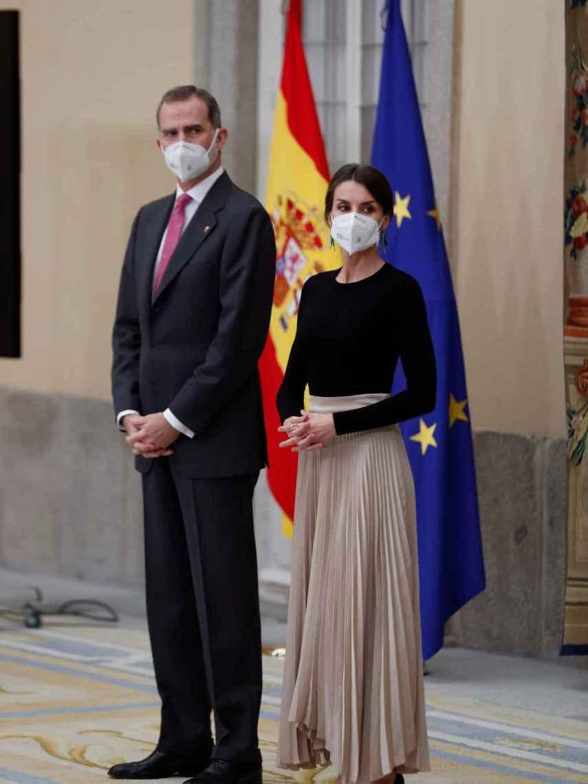 Felipe VI y Letizia en el Palacio del Pardo en Madrid.