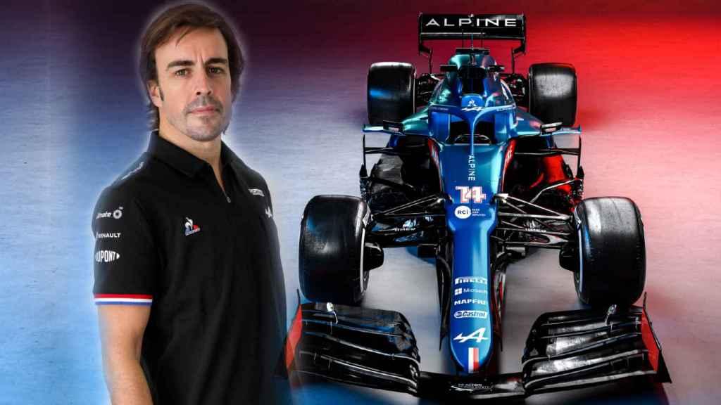 Fernando Alonso y su Alpine A521, en un fotomontaje