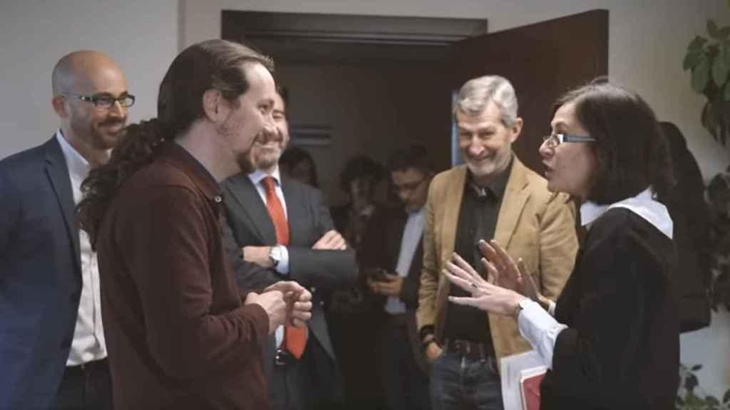 Pablo Iglesias, en su visita al ministerio al tomar posesión.