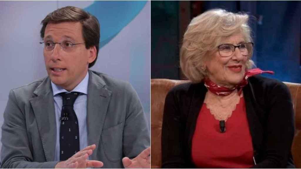 José Luis Martínez Almeida y Manuela Carmena en montaje de BLUPER.