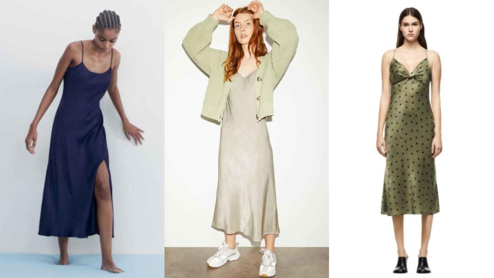 Algunos de los vestidos lenceros que se venden en Zara y H&M.